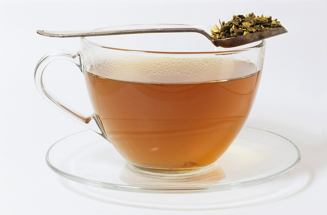 A cup of mistletoe tea (Viscum album)