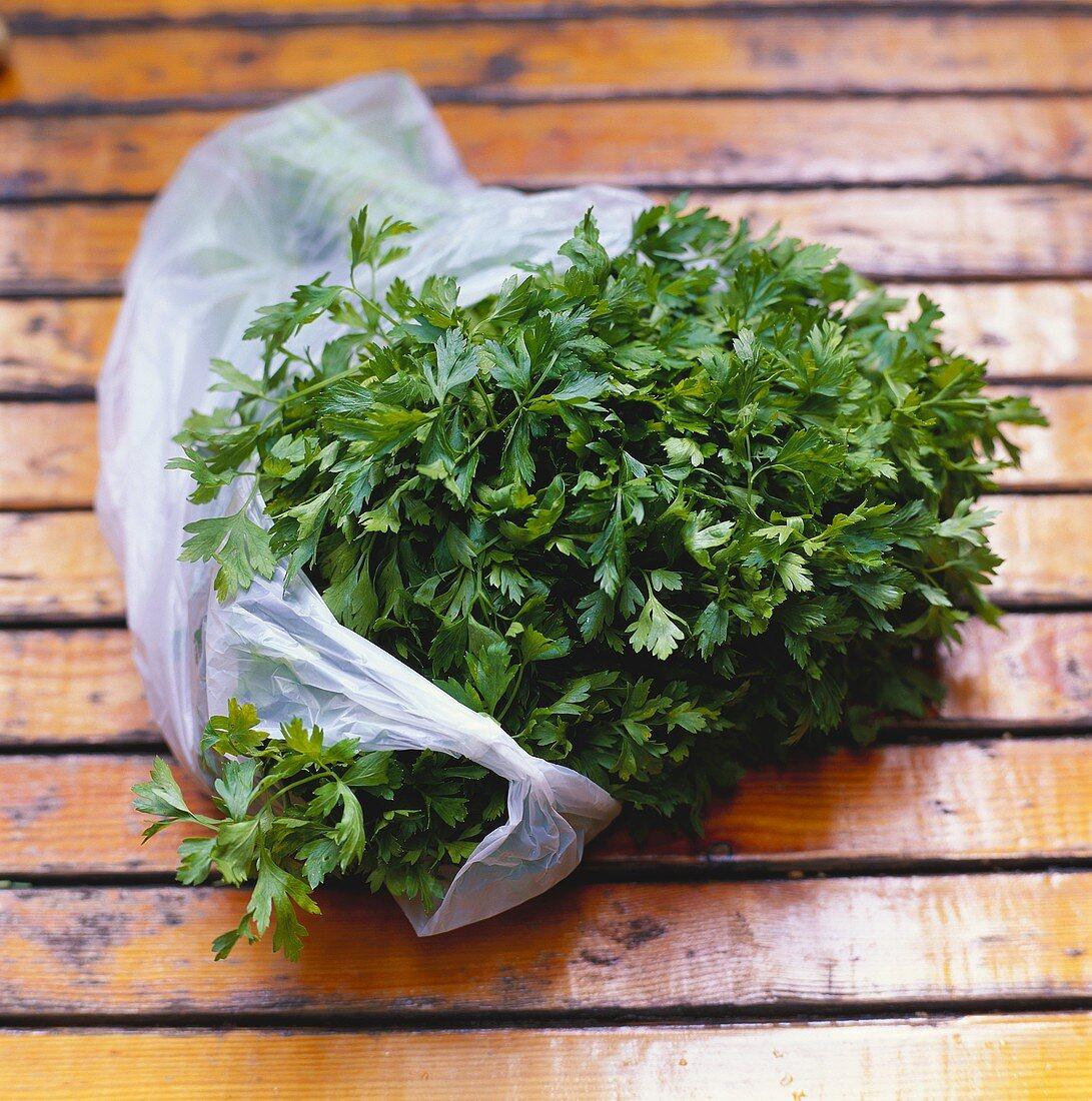 Fresh parsley in plastic bag