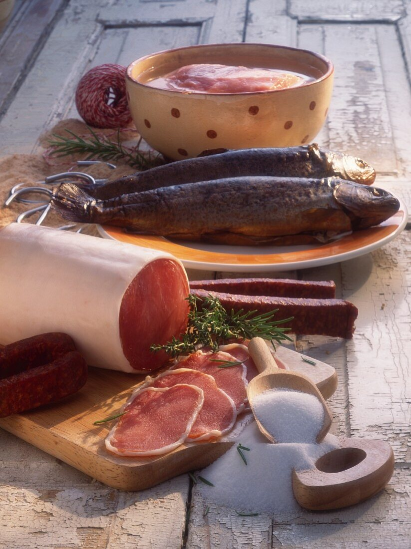 Cured ham, sausage and fish - pickled and smoked