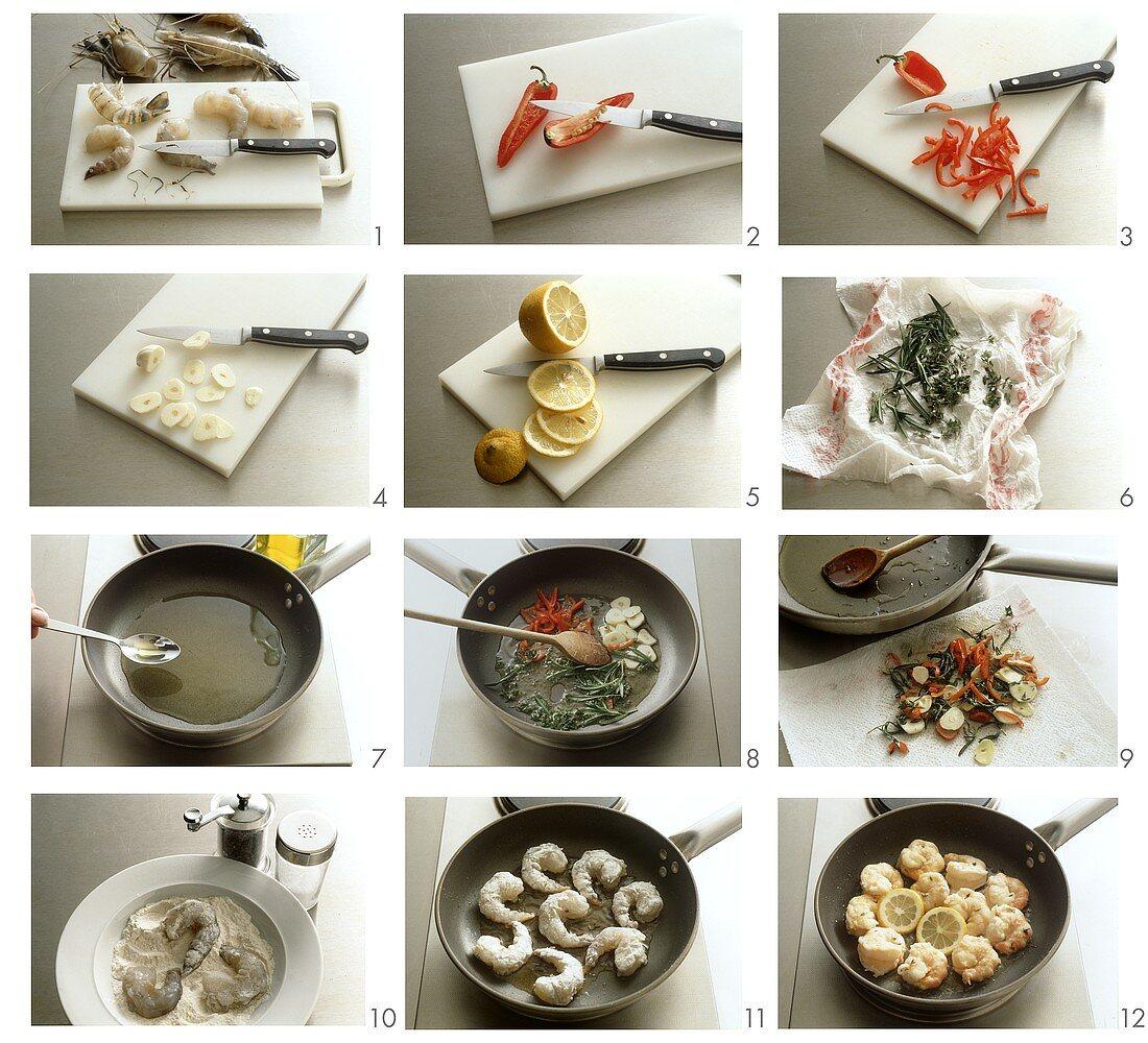 Frying shrimps in garlic oil