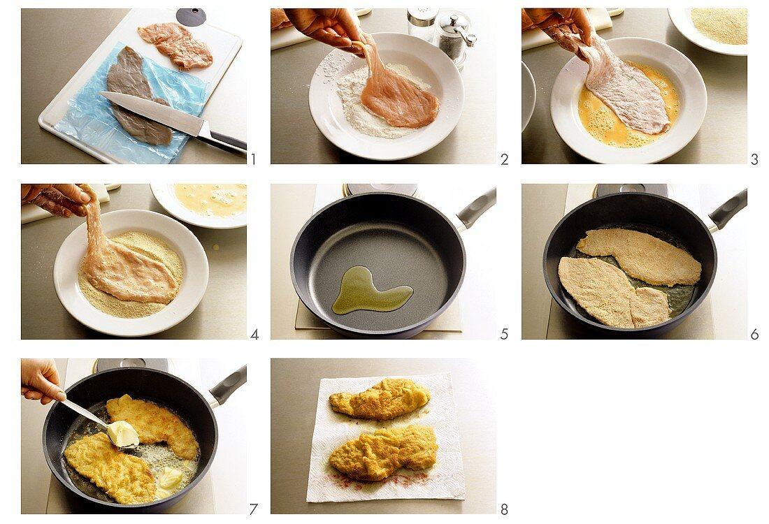 Preparing Wiener schnitzel (breaded veal escalope)