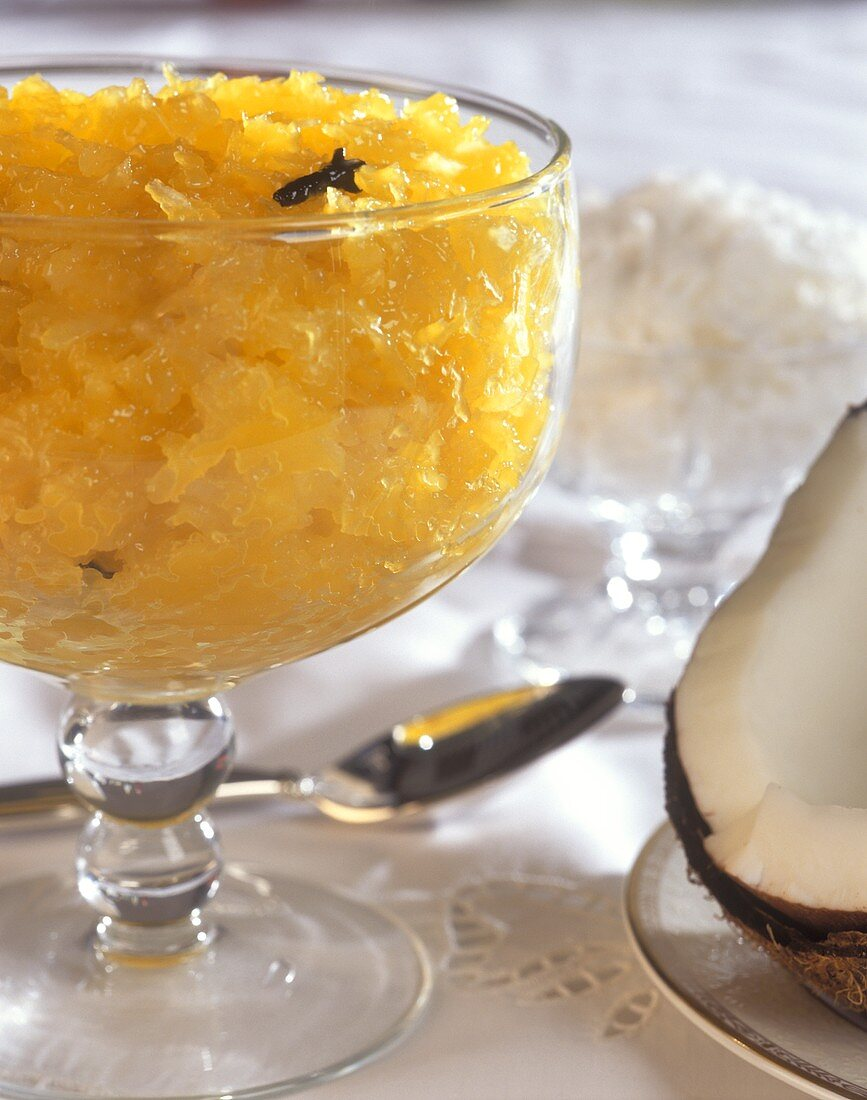 Exotic pineapple and coconut dessert in a glass bowl