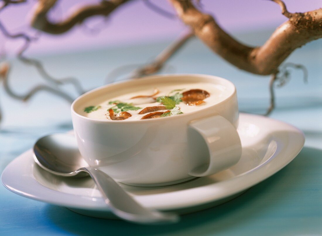Celeriac soup with oyster mushrooms