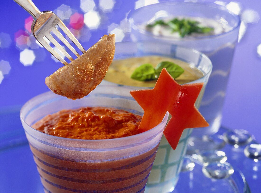 Ajvar sour cream dip, mustard & basil cream, garlic dip