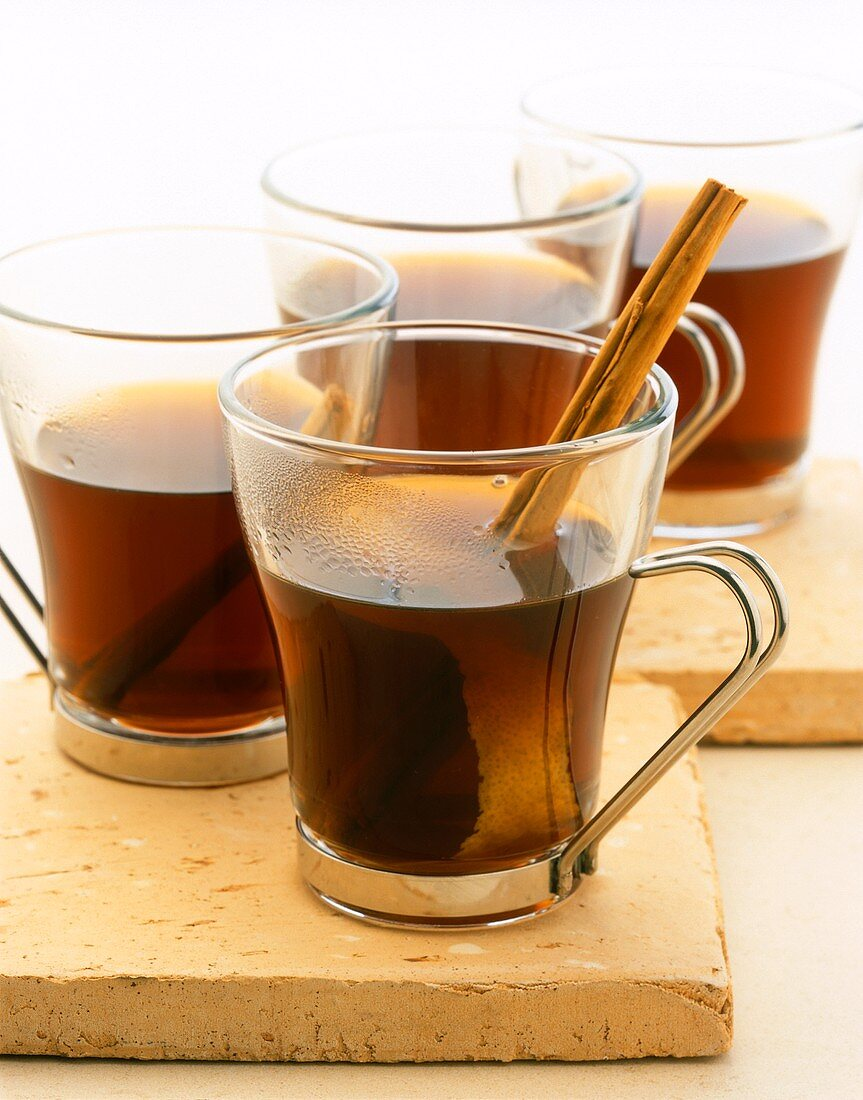 Hot rum and coffee punch in glasses