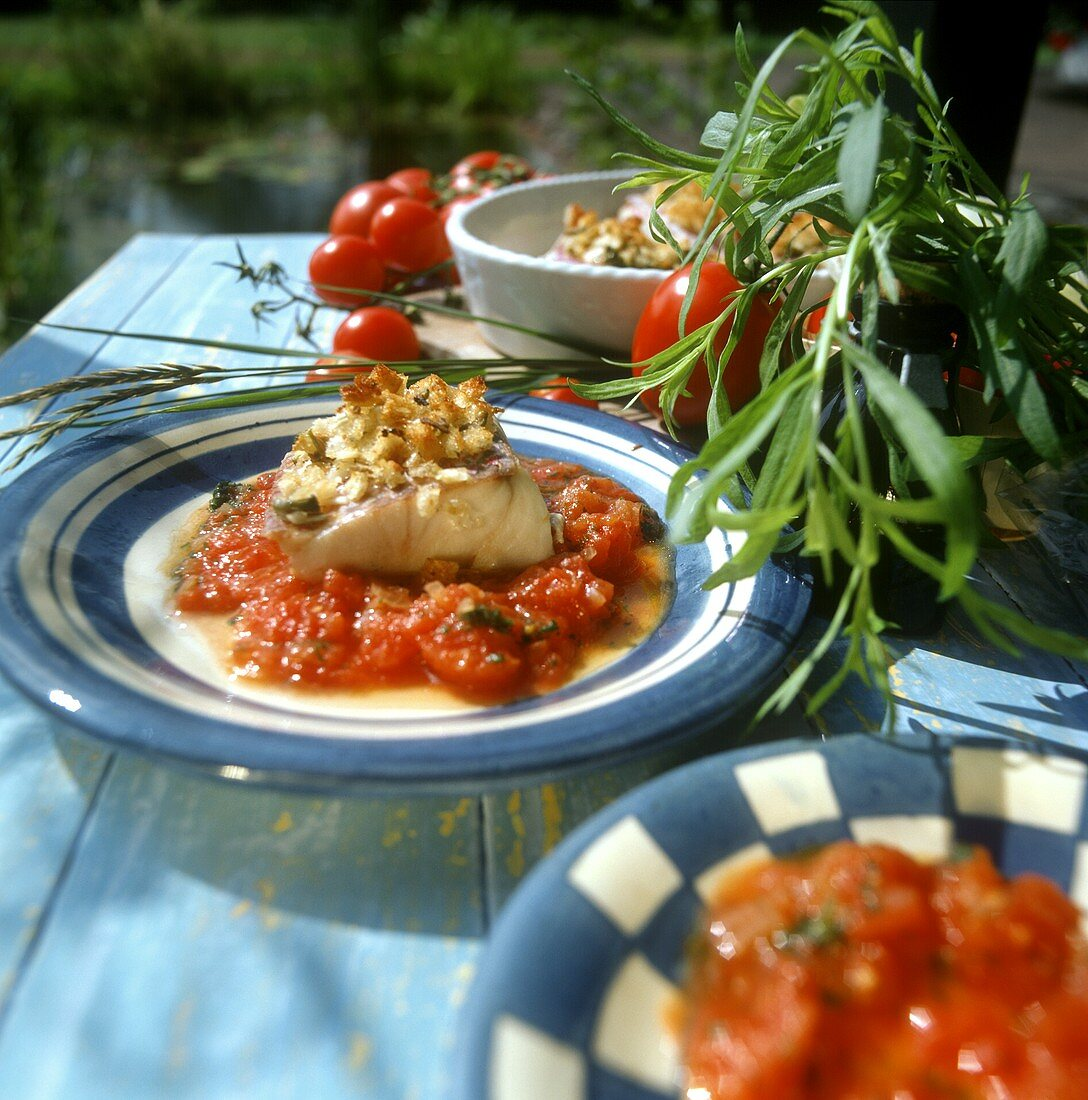 Red snapper with fennel and olive crust on tomatoes