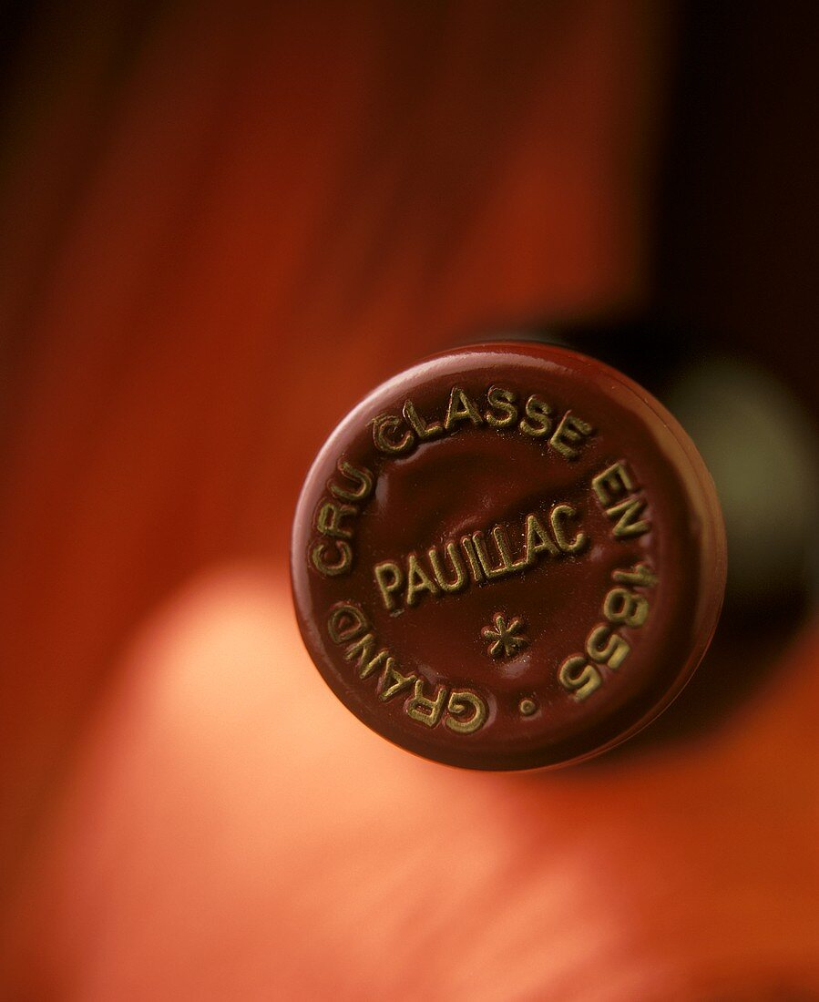 Plastic cap from French red wine, Pauillac, Bordeaux