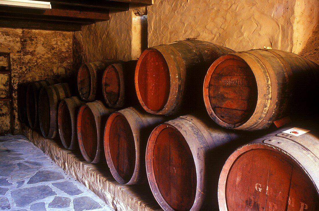 Old wine barrels stored at Jacobs Creek, Barossa, Australia