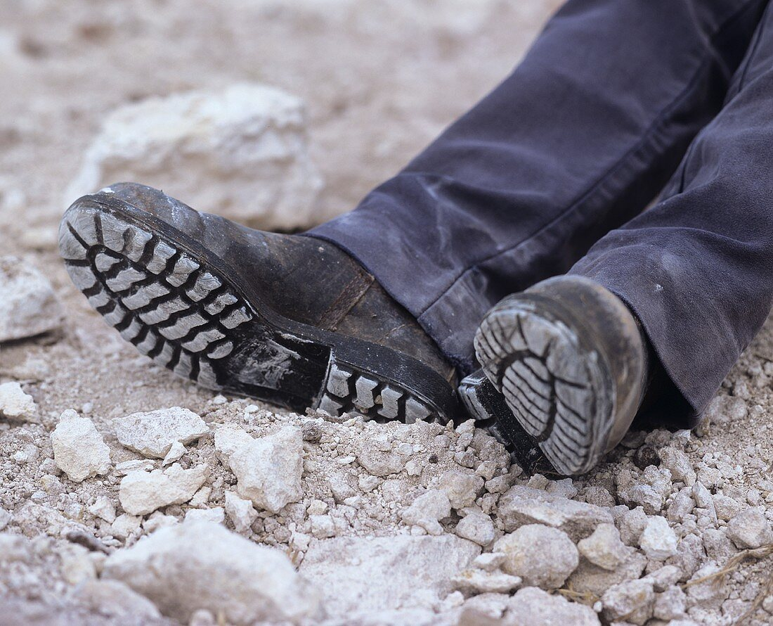 Feet of an exhausted worker on limestone soil, Coonawarra