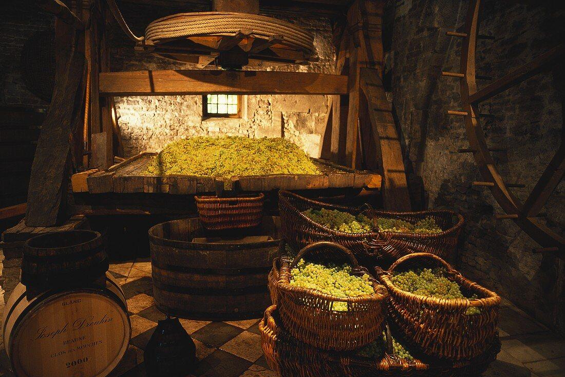 Antique wine press on Joseph Drouhin Estate, Beaune, Burgundy