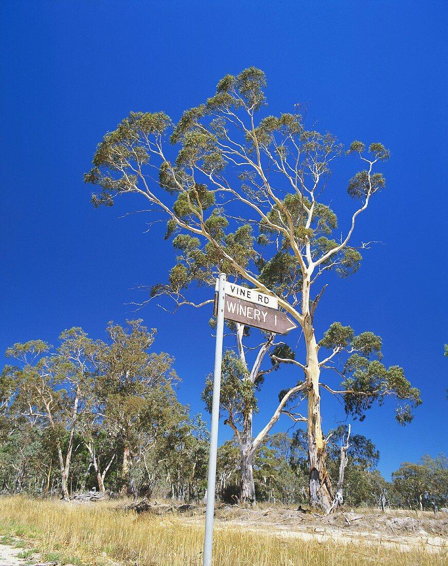 Signpost to Mount Langi, Ghiran Winery, Victoria, Australia