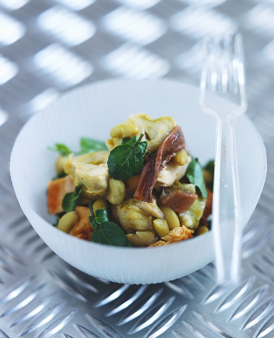 Artichoke & chicken salad with anchovies & flageolet beans