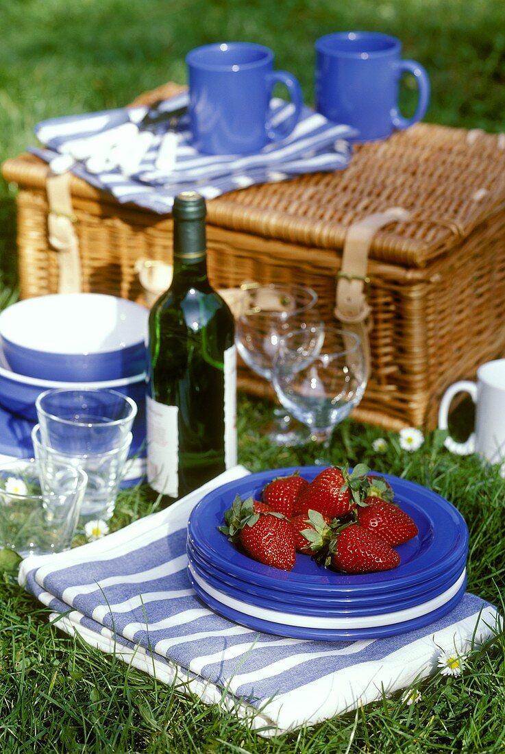 Picnic scene with strawberries, picnic things & basket on grass