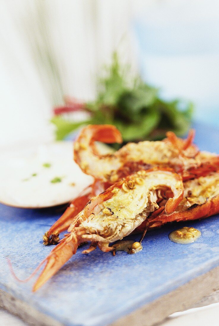 Barbecued yabbies (Australian freshwater crayfish) with dip