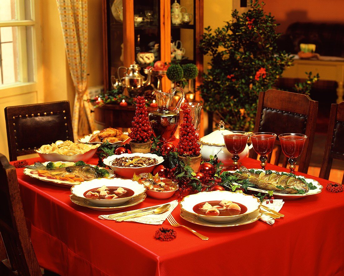 Table with traditional dishes for Christmas Eve (Poland)