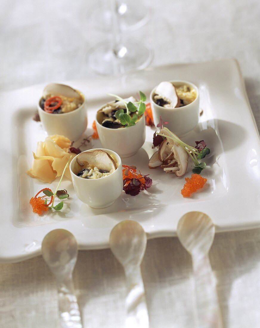 Japanese style filled rice pots