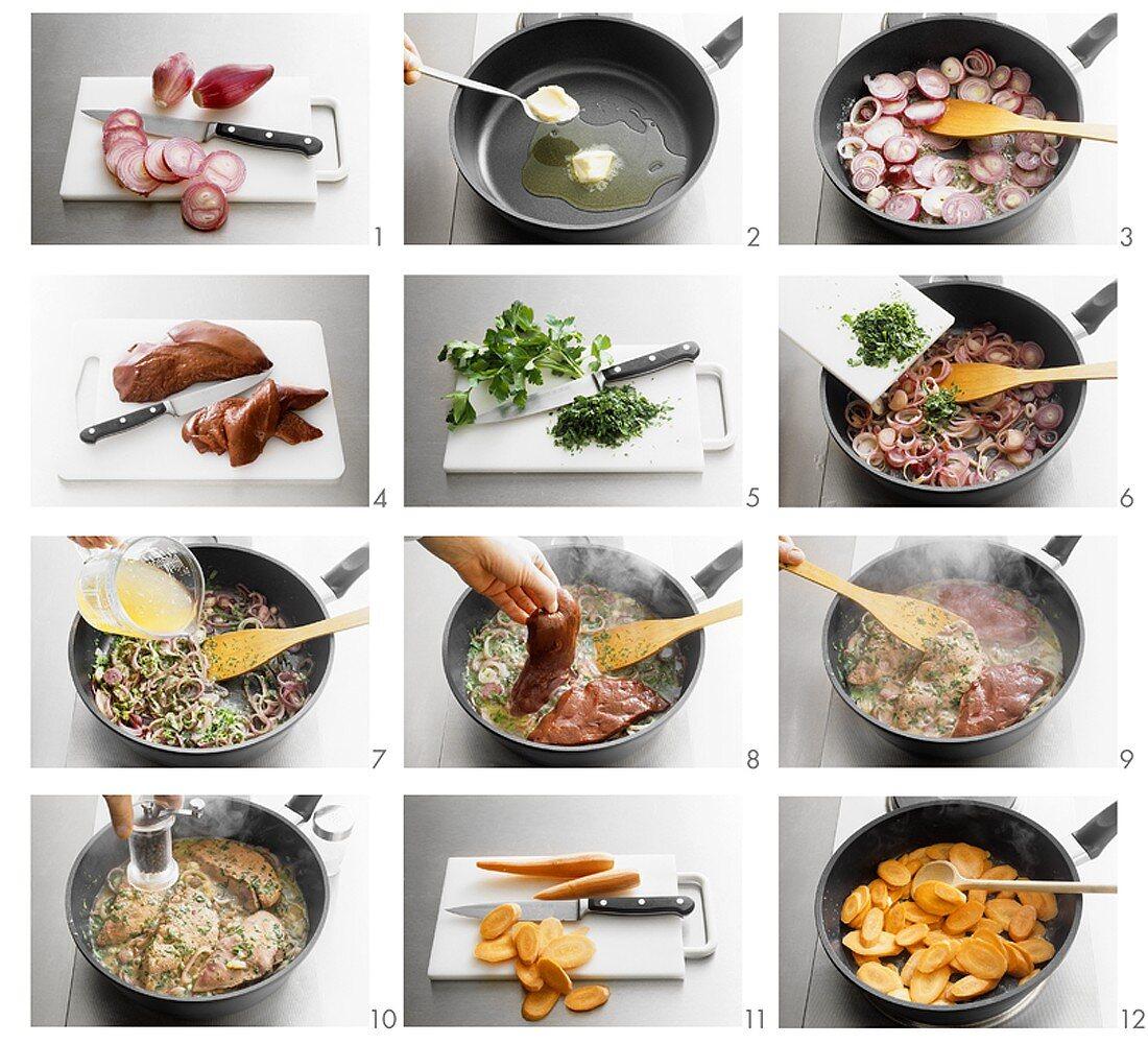 Making fegato alla veneziana (sweet and sour calf's liver)