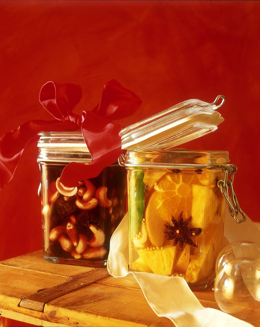 Sweet & sour mustard-pickled fruit & plums in port with cashews