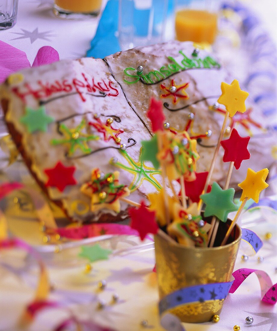 Magic book cake and magic wands with marzipan stars