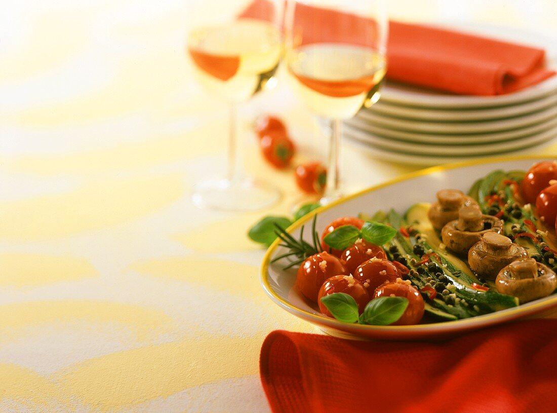 Plate of vegetable antipasti
