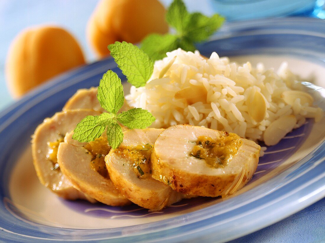 Chicken breast roll with apricot stuffing & almond rice