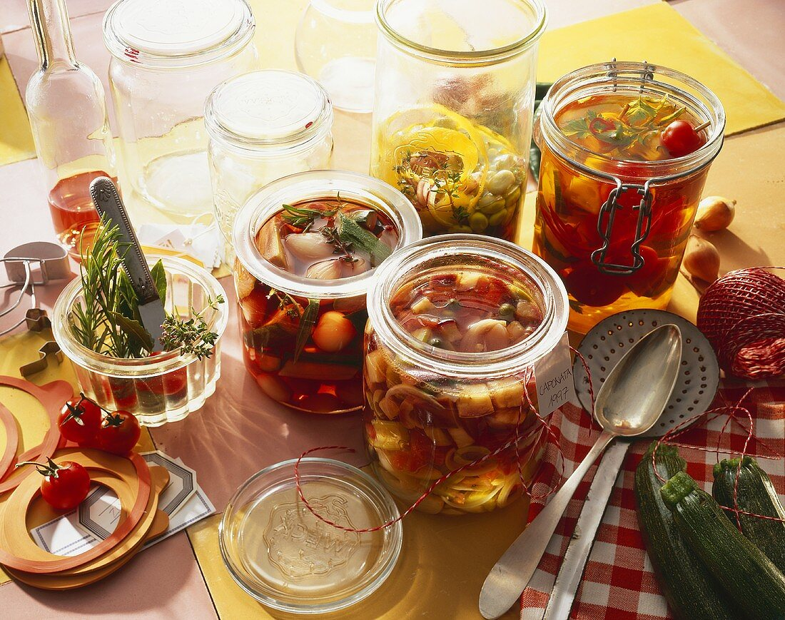Various pickled vegetables in pickling jars