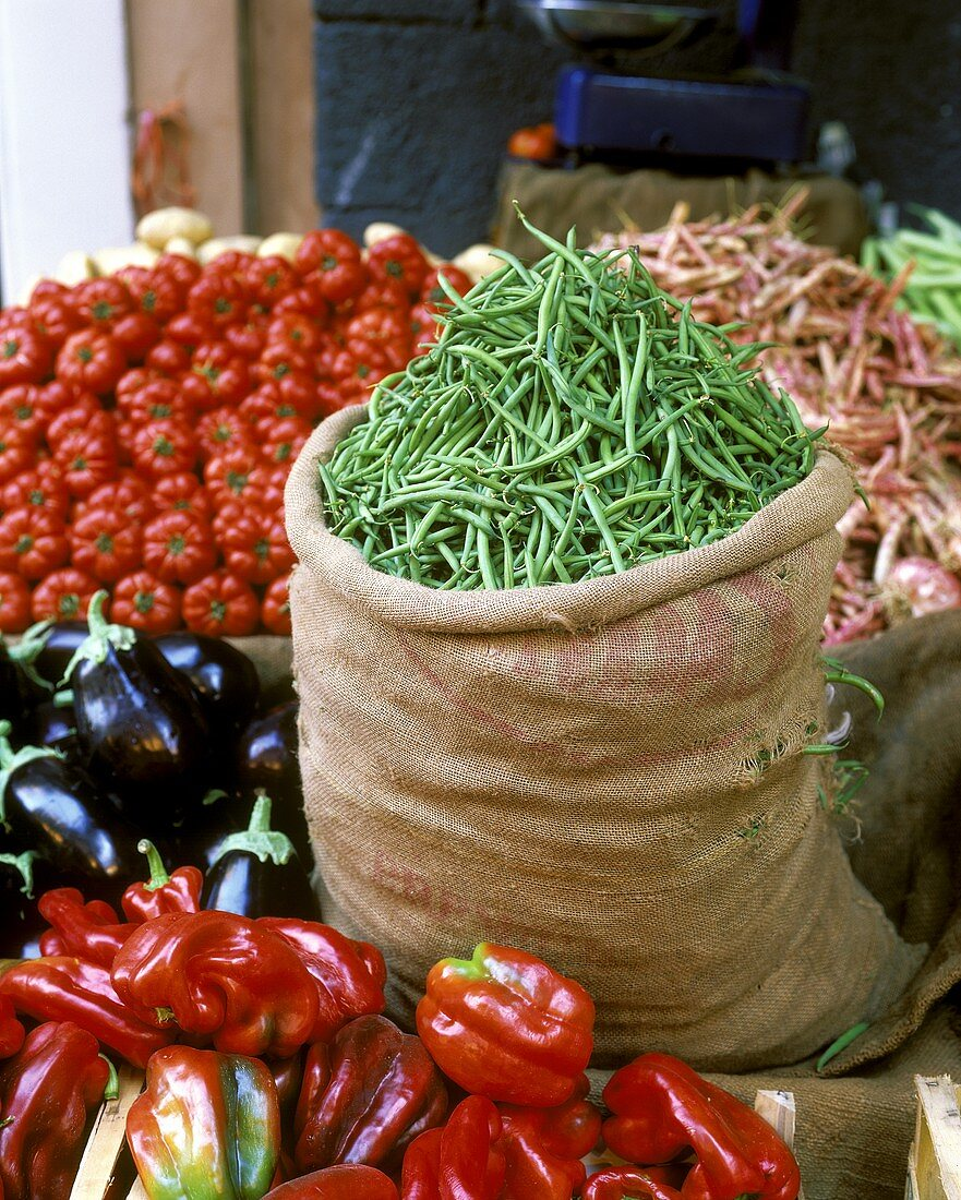 At the vegetable market in Catania, Sicily, in June