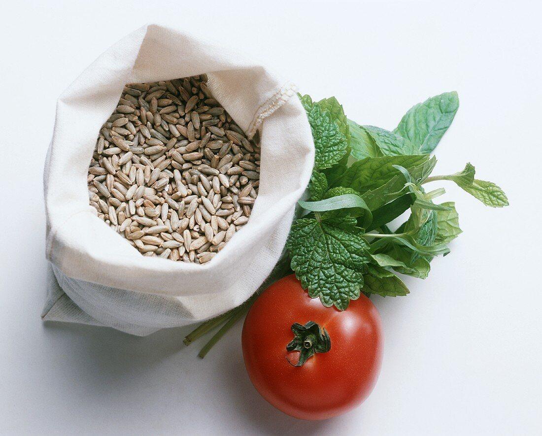 Rye Grains in a Bag; Tomato