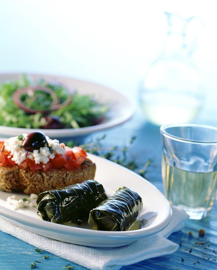 Dolmades (vine leaves) and bifteki (rissoles) from Crete