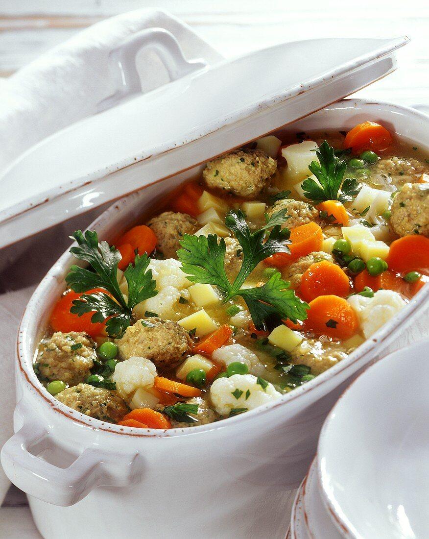 Breton stew with fish dumplings