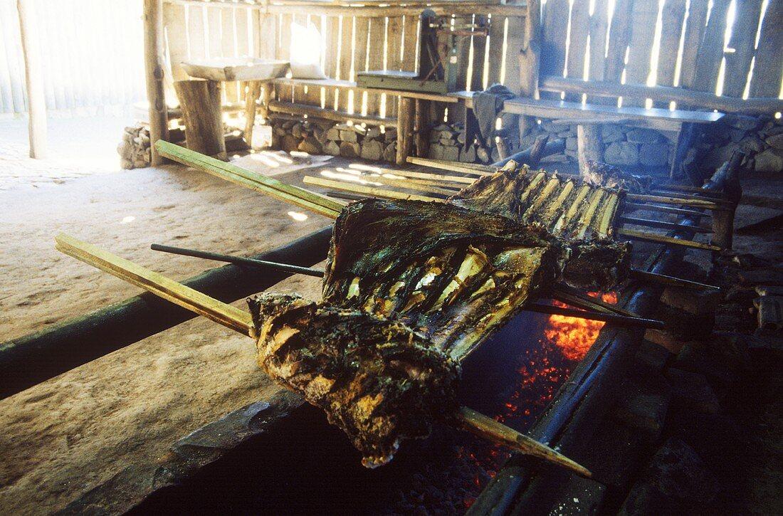 Gaucho Churrasco in Brazil, costela (prime rib) on barbecue