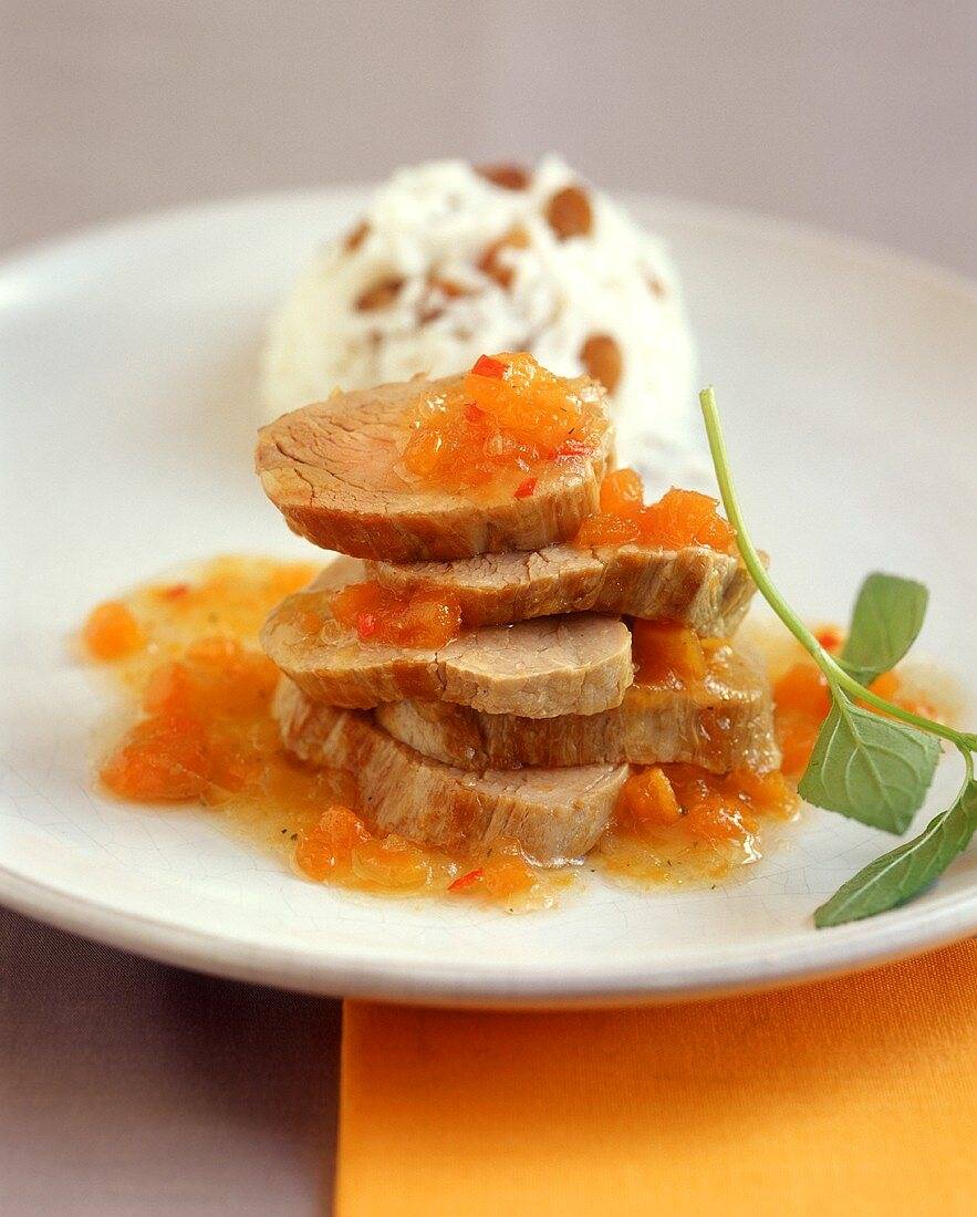 Pork fillet with persimmon sauce and rice