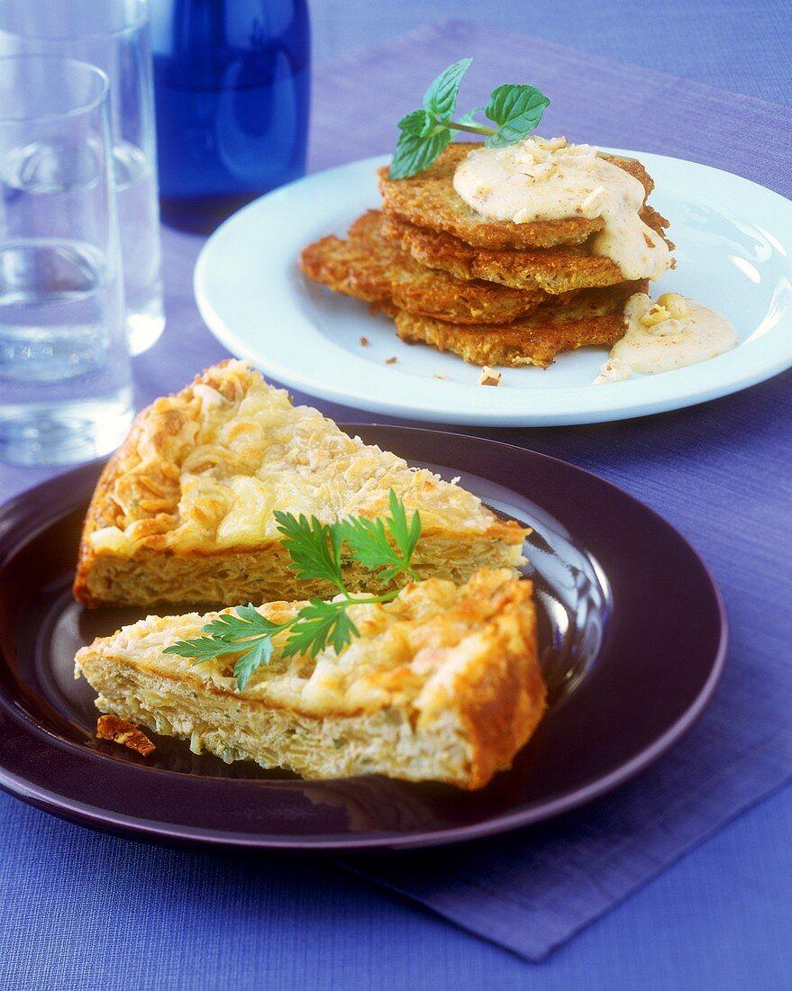 Potato cheese cake and hazelnut pancakes with coriander