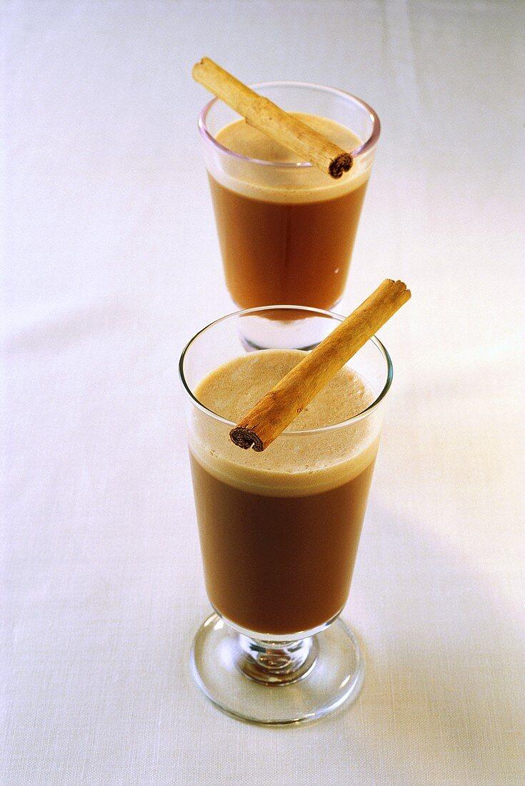 Coffee grog with cinnamon stick