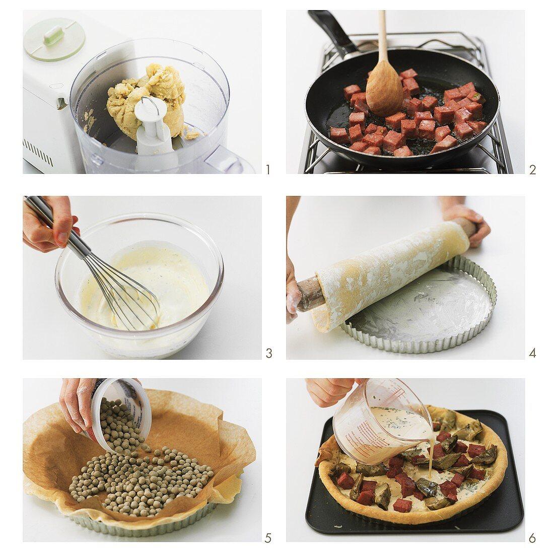 Making artichoke and mortadella quiche
