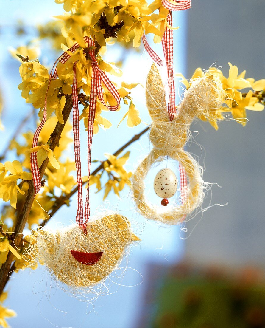 Forsythia with Easter decorations