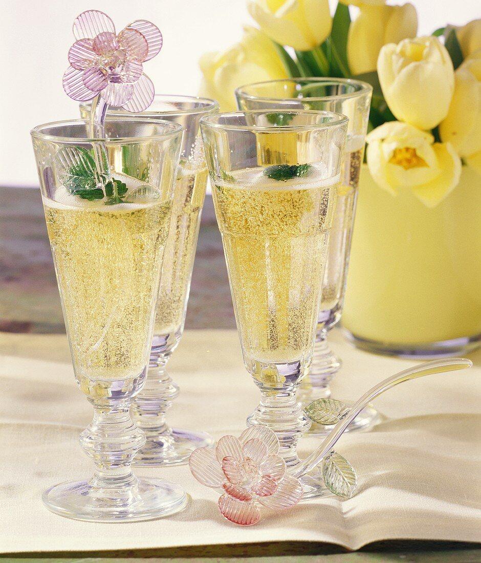 Orange liqueur and champagne cocktail