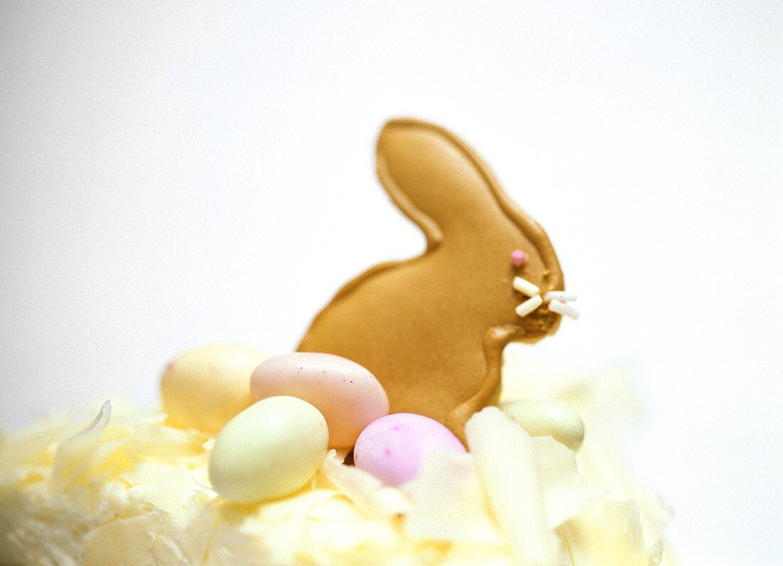 Easter Bunny in sweet pastry as cake decoration