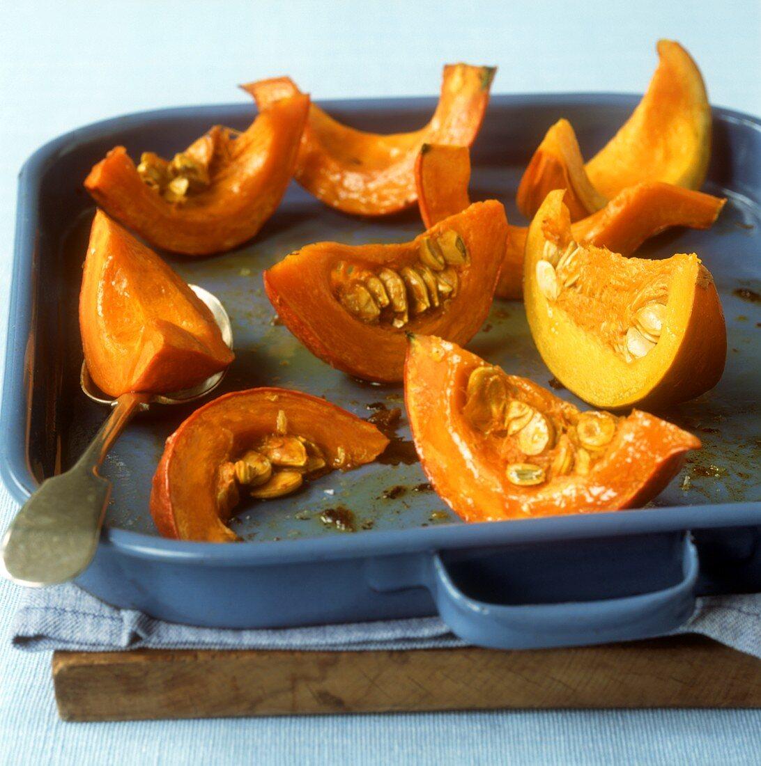 Baked pumpkin wedges
