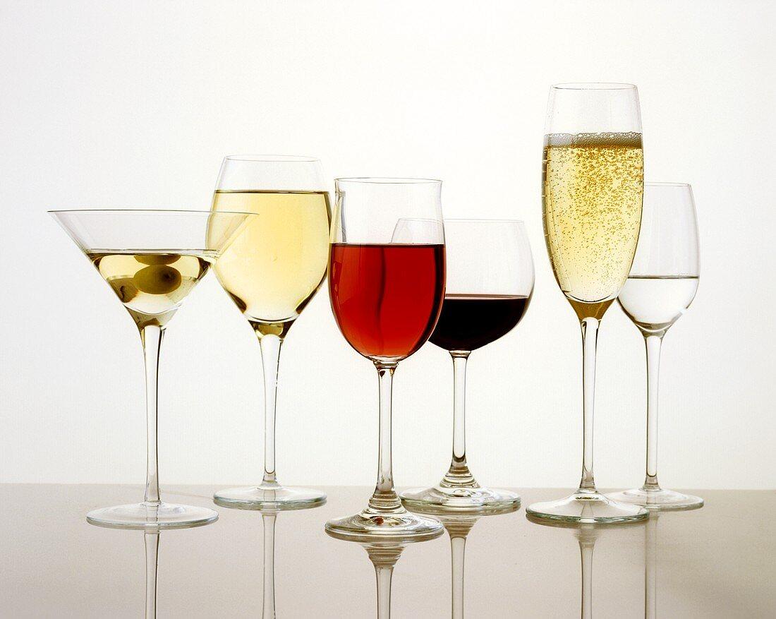 Various drinks - aperitif, wine, digestive