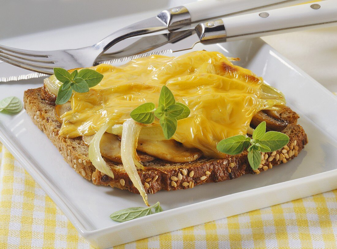 Mushrooms and onions on toast with toasted cheese topping