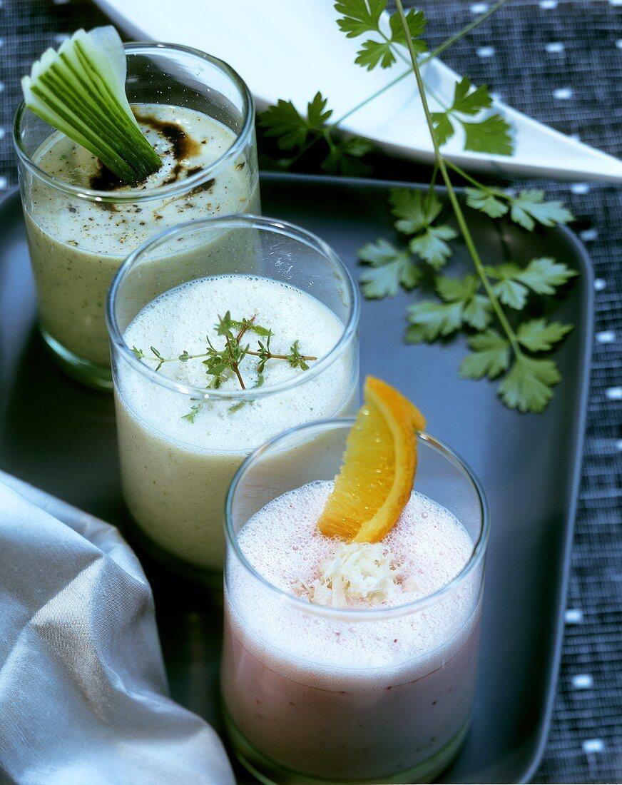 Cranberry and orange shake, herb soya milk, cucumber drink