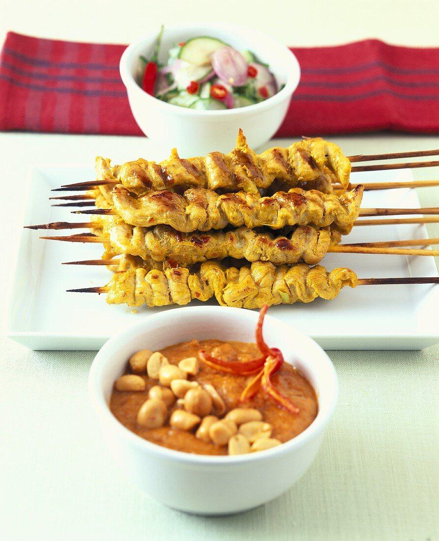 Thai meat kebabs with peanut sauce