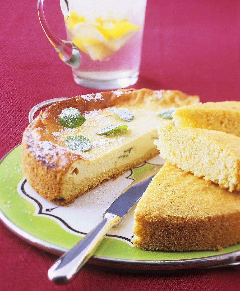 Spanish cheesecake with mint (Flao); almond sponge cake