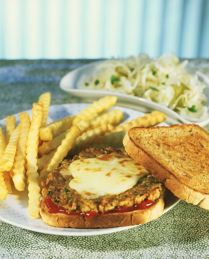 Thunfischtoast mit Pommes frites & Coleslaw (Tuna Melt; USA)
