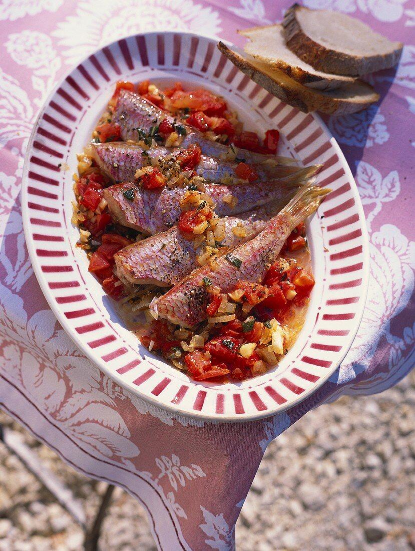 Rougets à la Sètoise (red mullet with vegetables)
