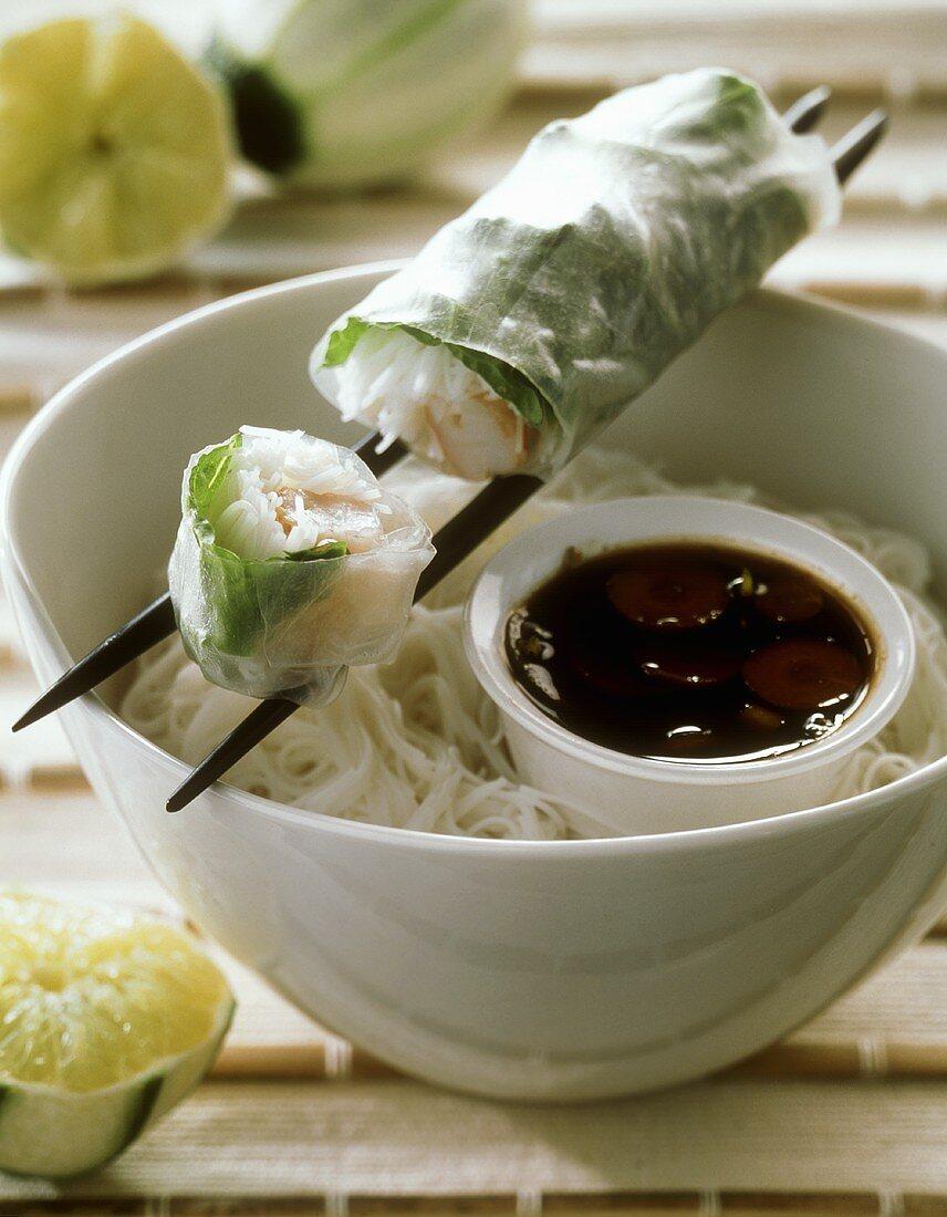 Bahn cuon (steamed spring rolls with shrimps, Vietnam)