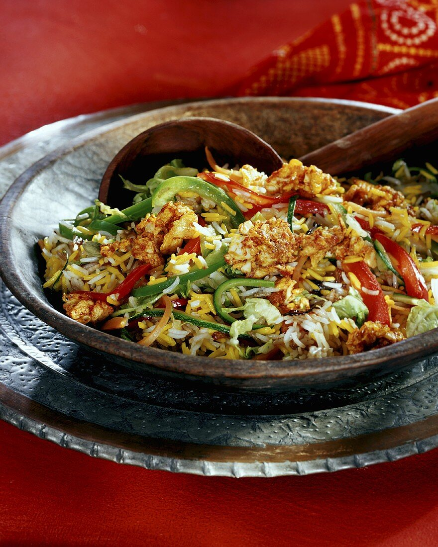 Bhaggar bhaji pulao (fried vegetable rice, India)