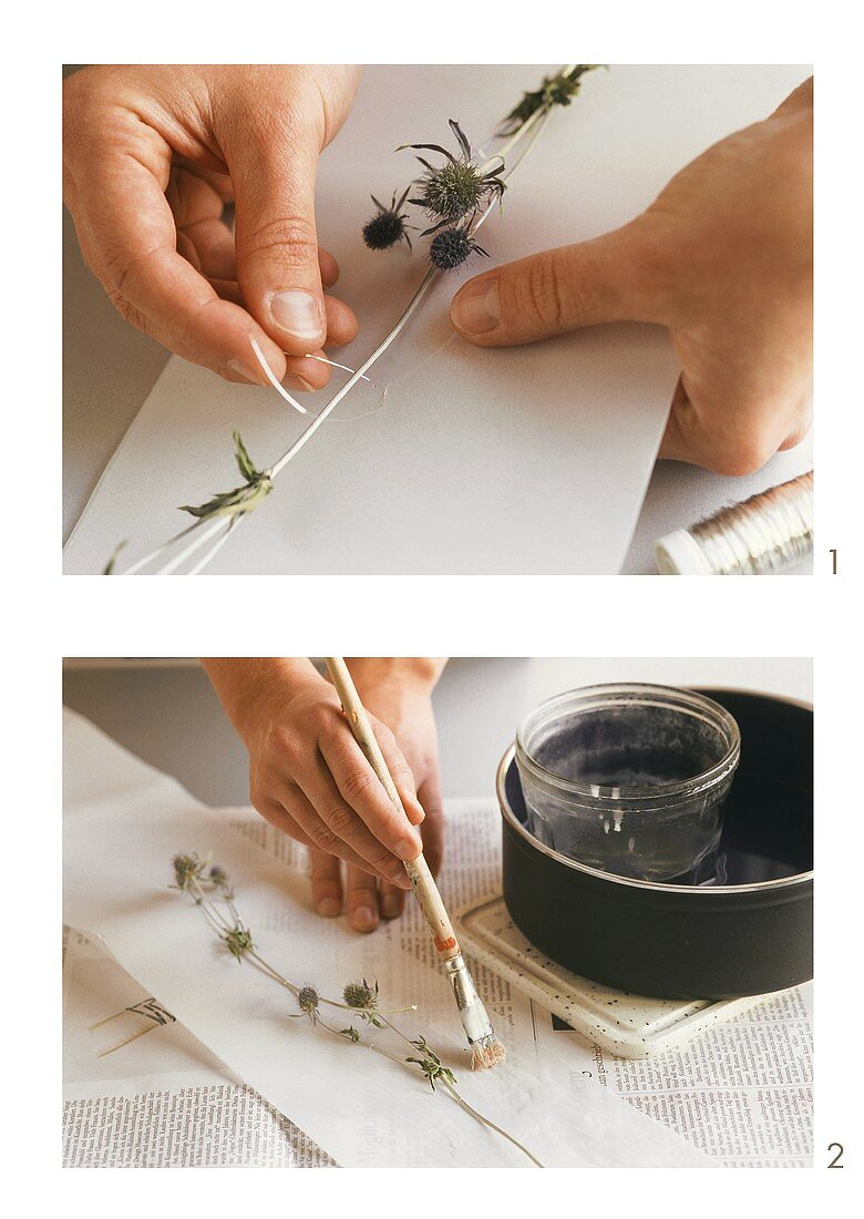 Embroidering mobile with thistles