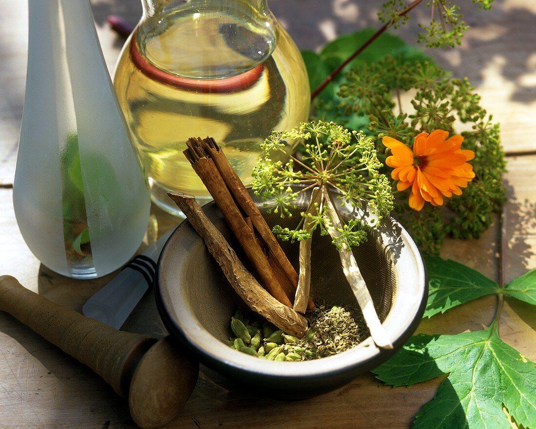 Ingredients for 'Magenschmeichler' herbal liqueur